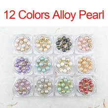 12 Colors Nail Art Decoration Pearl Fritillaria Alloy 3D Tips DIY Phone Jewelry Decoration Nail Stone Alloy Square Nail Gems