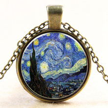2017 New Van Gogh Starry Moon Glass Necklace For Women Men Fashion Alloy Sweater Chain Necklaces Pendants Brand Jewelry Gift