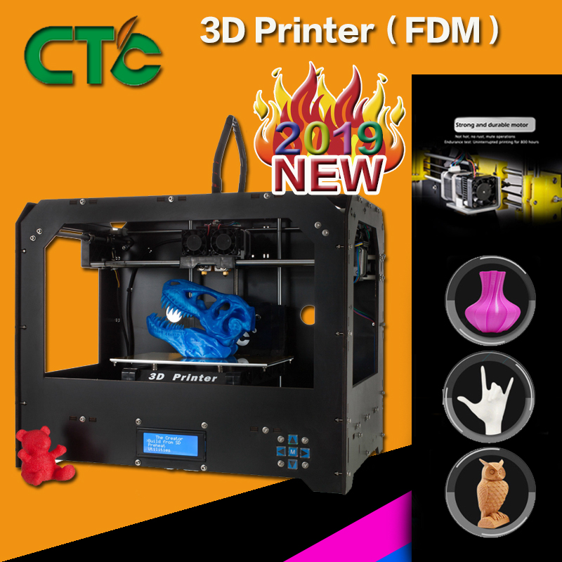 CTC 3D Printer Two nozzles Black based on Makerbot Rep 3D Printer dual-nozzle Double sprinkler