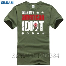 Green Day Punk Band American Idiot Men's T-shirts Short Sleeve 2017 Hot Leisure Cotton 3XL Green Day Tour T Shirts