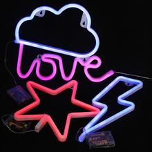 4 kinds Indoor Lighting Wall Lamp LED Night Light Marquee Battery Operated Neon lights Sign for Home Christmas Decorations