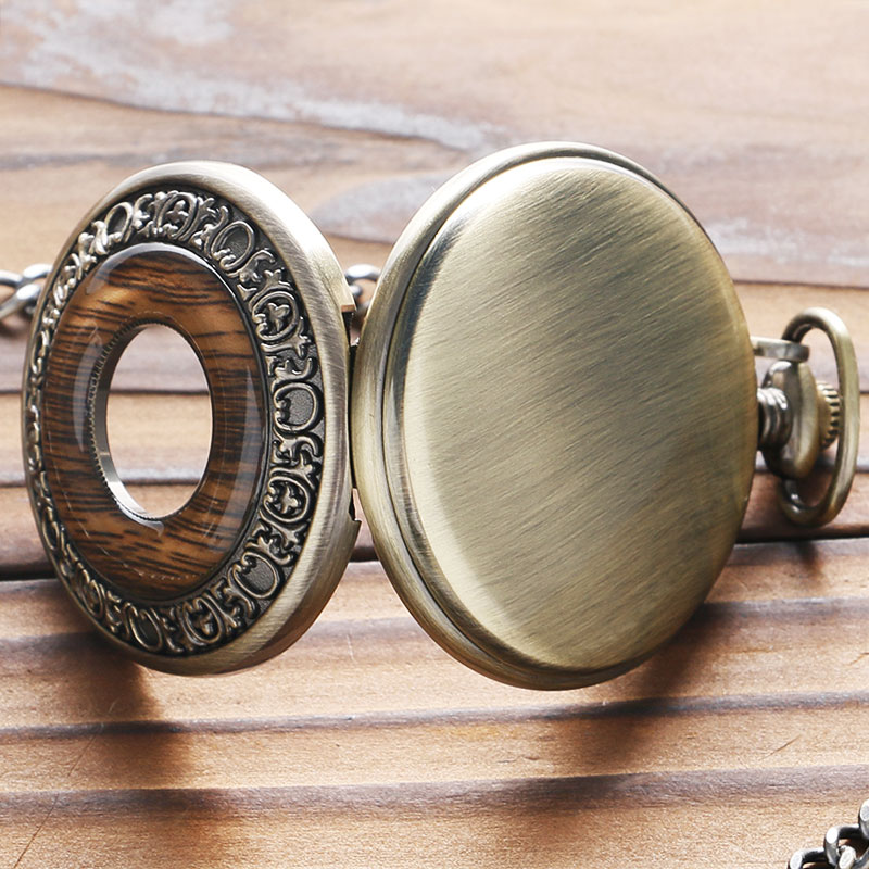Vintage Wood Round Case Pocket Watch Luxury Quartz Analog Half Hunter for Men Women Fob Wooden Watch with Chain Gift Bag Ulzzang 2017 (9)
