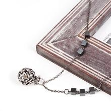 "8SEASONS Copper Fashion Necklace Antique Silver Gunmetal Hematite Beads Can Open Wish Box Pendants 67cm(26 3/8"")long,1 Piece"