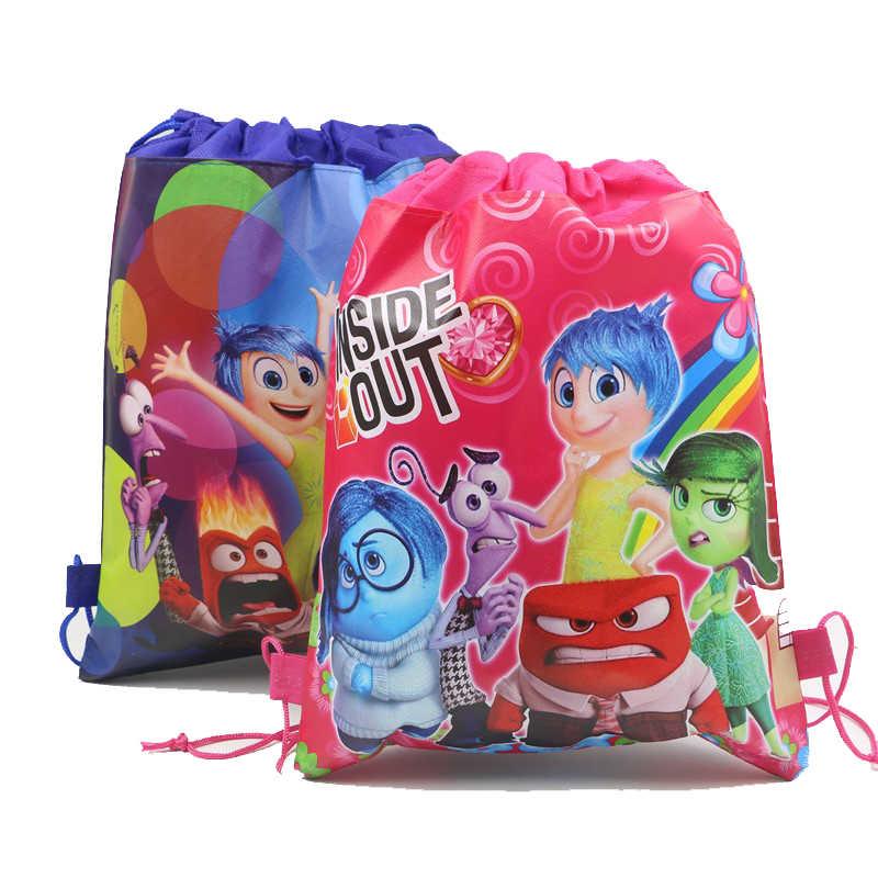 ce393920f4 12Pcs Super Hero Superman Batman Inside Out Cartoon Kids Drawstring Backpack  Shopping School Traveling Party Bags