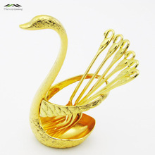 Gold Swan Fruit Fork Dessert Set Fashion Creative Suits Luxurious Gold Fruit Dessert Fork Cutlery Quality Wedding Gift 008