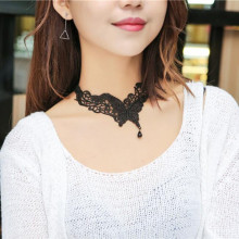 Hot New European And American Fashion Jewelry Simple Choker Black Butterfly Shape Wind Lace Necklace     M11