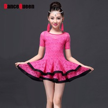 2018 Latin Dance Dress Children Girls Ballroom Dance Dresses Girl Samba Dress Modern Dance Costumes For Kids Club Dresses(China)