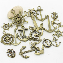 Sweet Bell 40pcs Mixed Anchor Charm Antique Bronze Rudder Pendants Jewelry for bracelets Diy Jewelry Making D1021-1(China)