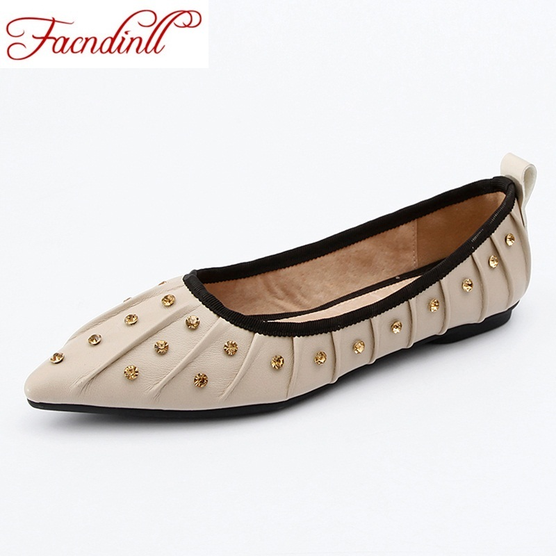 FACNDINLL soft leather rhinestones dress shoes women black ballet flats ladies casual shoes new spring summer loafers black shoe<br>