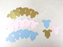 Gender Reveal Party Decorations | Onesie Confetti Baby Shower Ideas | Gold | blue pink Table decor scrapbook Confettis