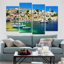 Direct Selling 4 Panels Coast Unframed Print Spray Paintings Poster on Wall Canvas Pictures for Living Room Home Decoration(China)