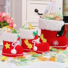 4Sizes (S,M,L,Mini) Christmas Candy Boots Santa Claus Flocking Boots Stockings Decorative Candy Gift Box Home Decoration Supplie