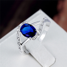Popular Factory Price 925 Sterling Silver Ring Wedding 4 Color Gem Blue Crystal Fashion Finger Rings Brand Jewelry for Women(China)