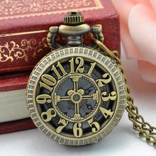 Pocket Watch Steampunk 2017 Retro Design Bronze Necklace Round Dial Fob Watch Gift Men's Pocket Watches with Chain Dec07(China)