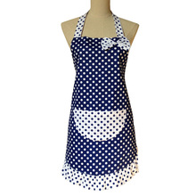 Cute Kitchen Apron Woman Cooking Cotton Ruffled Princess Polka Dot Apron Avental de Cozinha Divertido Tablier Cuisine Pinafore(China)