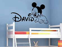 Creative New DIY cute Mickey Mouse Custom Kids Name baby wall stickers for kids rooms home decoration wall stickers tx-533