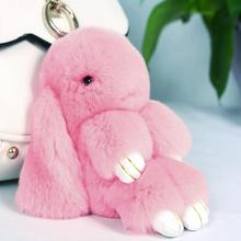 Rabbit Furs Key Chain Pompom Fur Keychain Bag Charms Car Pendant Key Cover Trinket Women Chaveiro Keychains Handbag Keyrings