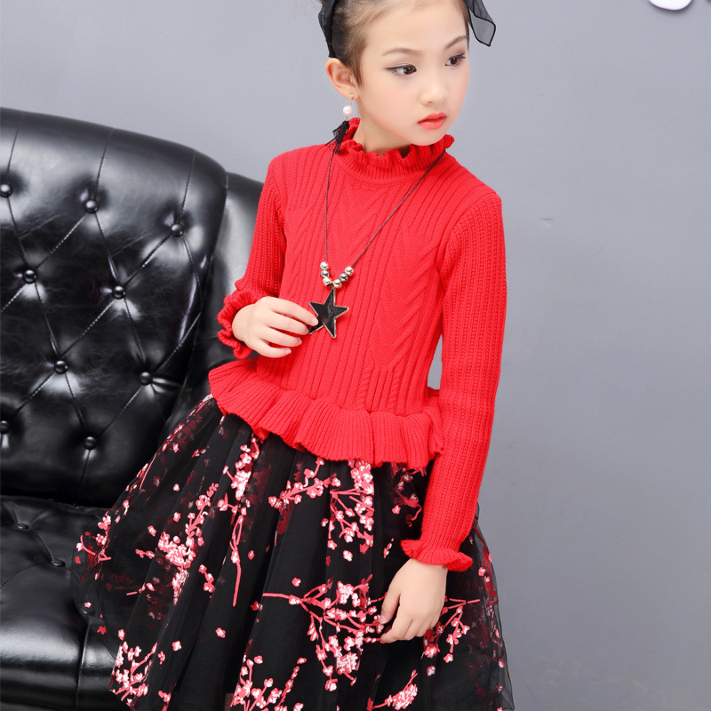 Robe Fille Enfant 2017 Girls Knitted Dresses Spring Autumn Kids Sweaters Dress Teenage Girls Kids Girls Clothes 6 8 10 12 Years<br>