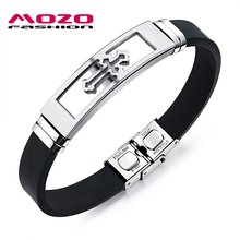MOZO FASHION Men Bracelet Stainless Steel Silicone Rubber Wristband Cross Bracelets Charm Bracelet Casual Male Jewelry MPH1086