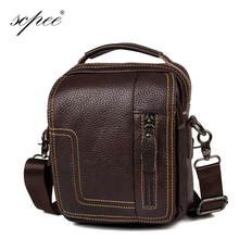 SCPEE High quality 2016 Brand Genuine Leather bag Vintage Designer Men Crossbody bags Cowhide leather small messenger bag for m