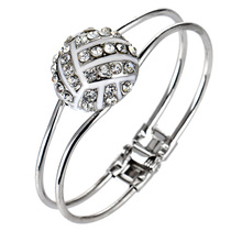 One Piece Fashion Jewelry Crystal Deco Volleyball Hinge Sports Charm Rhodium plated Bangle b36