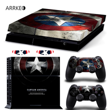 ARRKEO Captain America Vinyl Cover Decal PS4 Skin Sticker for Sony Play Station 4 Console & 2 Controller Skins The Avengers(China)