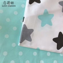 100% cotton twill cloth white printed blue stars big polka dots fabric for DIY kid bedding handwork quilting tissue textile tela(China)