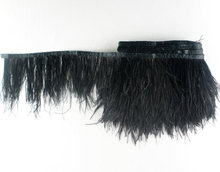 Free shipping!1 yard 8-10cm height black Ostrich Feather ribbons party feather boas  strips ostrich feathers fringes for sale!!