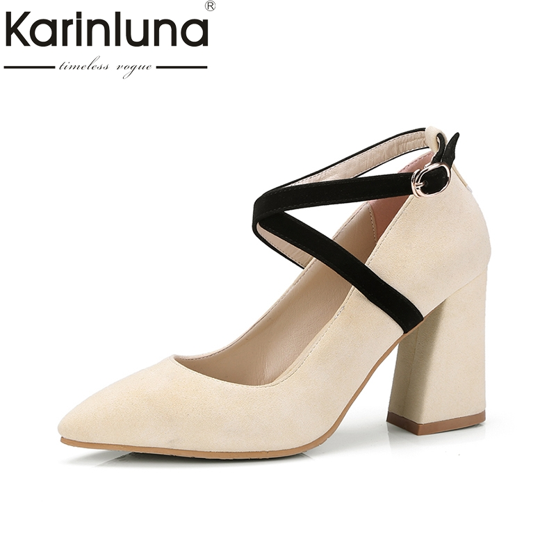 KARINLUNA 2018 Top Quality Size 32-42 Ankle Strap Black Women Shoes Sexy Pointed Toe Hoof High Heels Party Wedding Woman Pumps<br>