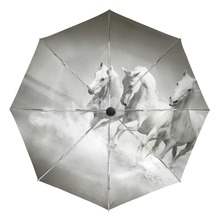 White Horse Running Portable Folding Rain and Sun Beach Umbrellas Hat Unique Parasol Automatic Umbrella with Outer Black Coating(China)