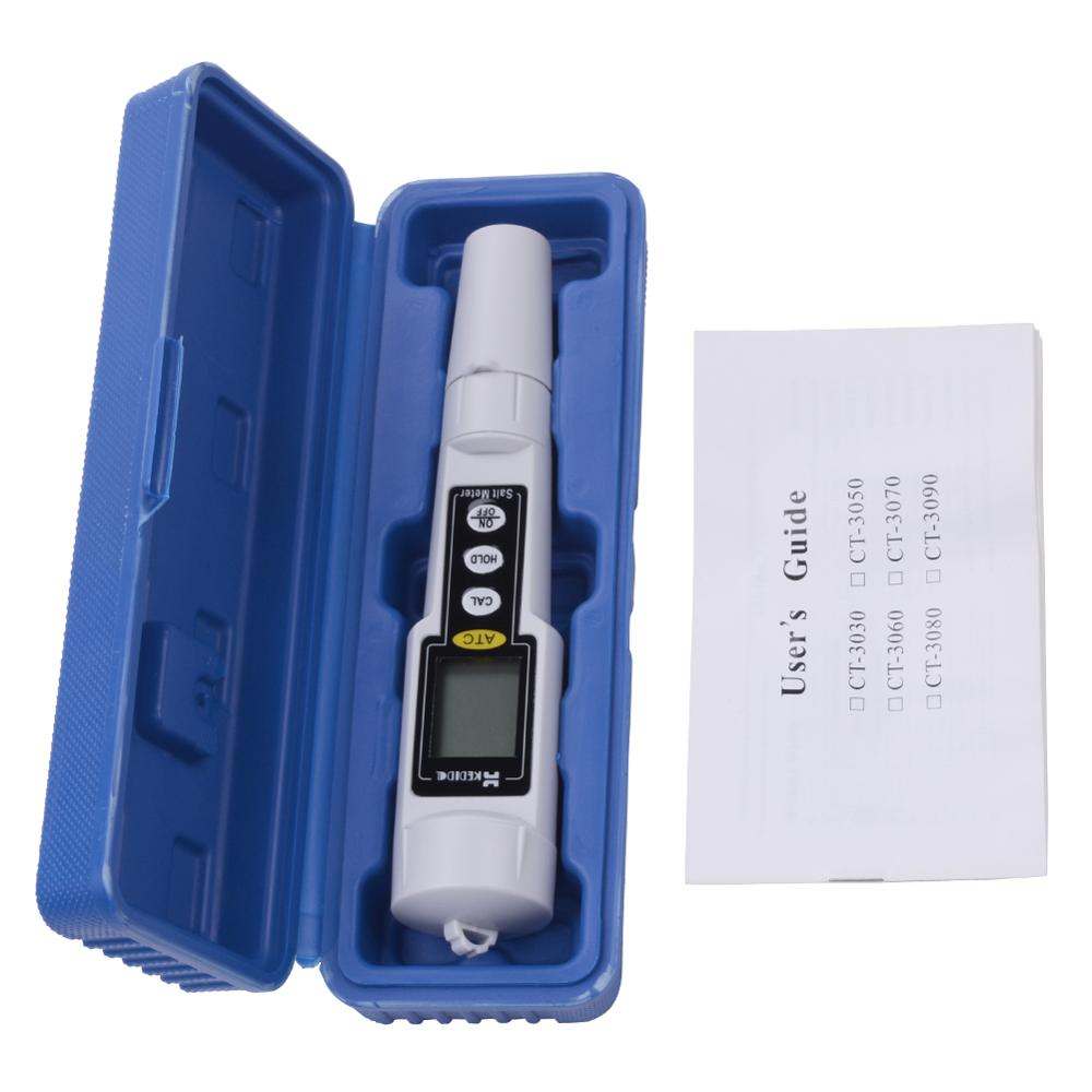 0-9999 Mg//L Protable Digital Salt Meter Waterproof Salinity Tester Water Salt Value Measure Monitor Salinometer CT3081