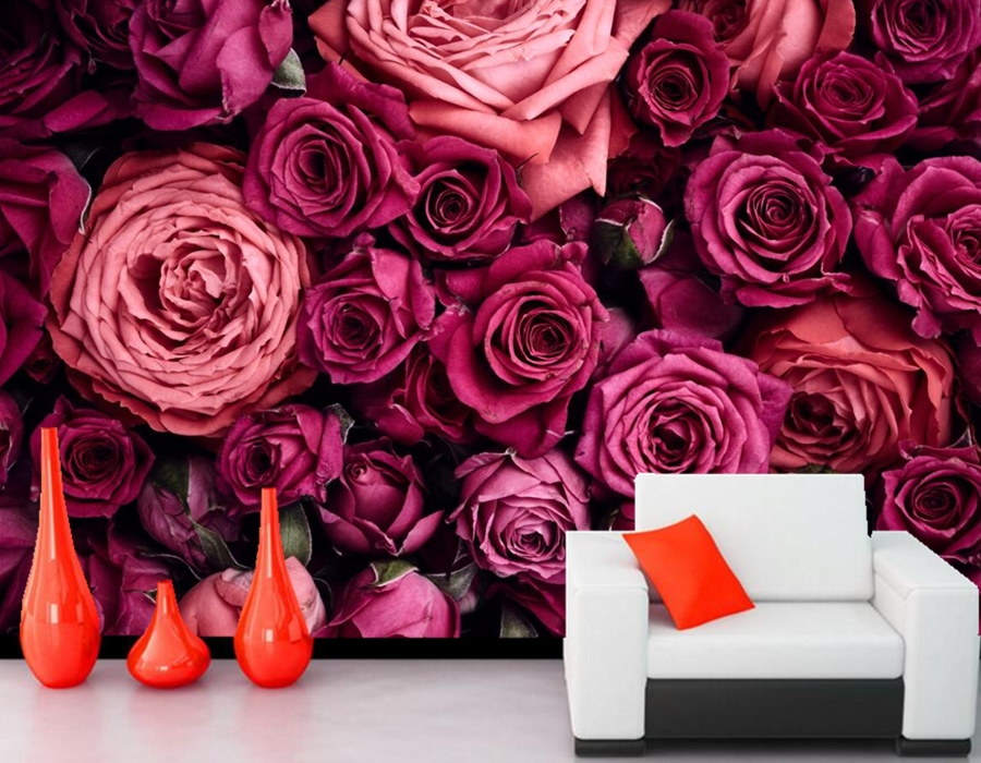 Custom 3D mural,papel de pared,Roses Many Closeup Wine color Flowers wallpapers,living room sofa TV wall bedroom 3d wallpaper<br>