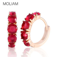MOLIAM Lady Fashion Jewelry Earring Gold-Color Crystals Cubic Zirconia Hoop Earring for Women Wedding Jewellery Gift MLE120