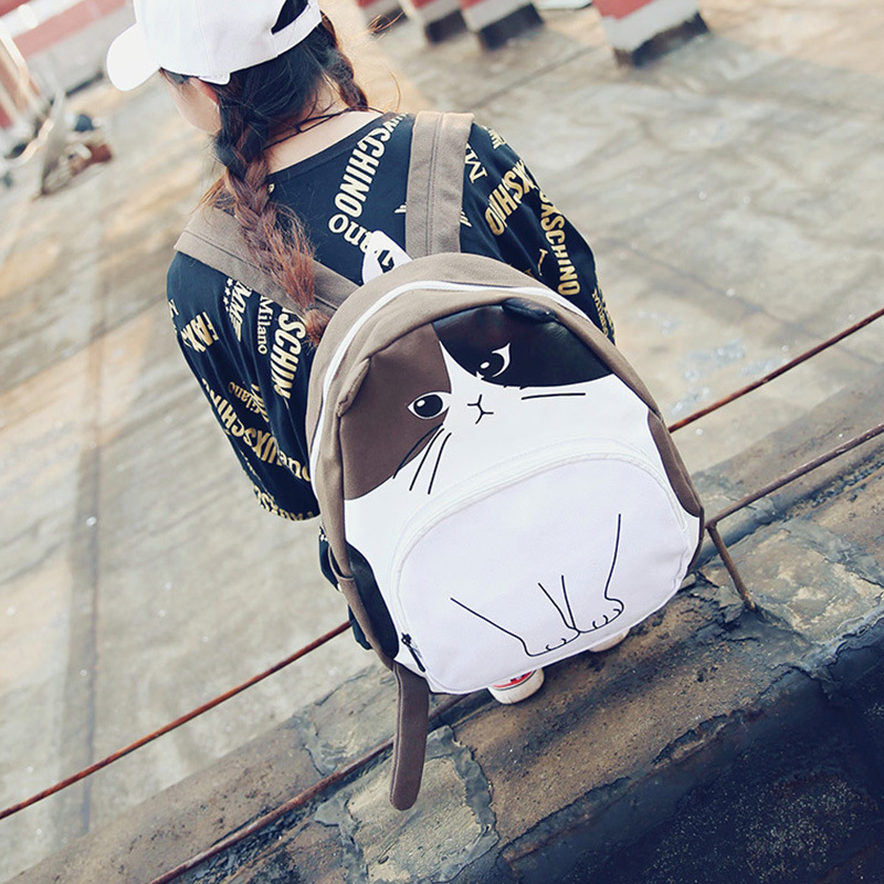 2017 Fashion Student Cute Cartoon Cat Ears Backpack Teenagers College School Bags Casual Canvas Black Rucksack Mochilas<br><br>Aliexpress