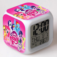Anime Figurines little Horse Alarm Clock LED Color Touch Light My Poni Doll PVC Desk Watch Kids Toys