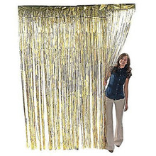 3 ft. x 8 ft Metallic Gold Foil Fringe Curtain Shimmer Curtain Birthday Decor New Christmas New Year Decorations