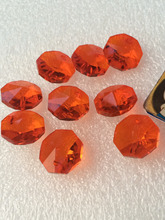 Free Shipping 1000pcs 14mm Orange Glass Crystal Fashion Octagon Beads with 1 holes For Chandelier Crystal Beads, Curtain Parts(China)