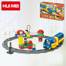 Original HUIMEI 51PCS Electric Train Railway Tracks Building Blocks Set Boys Brick Toys Compatible with Duplo Baby Gift(China)