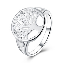 Tree of Life Ring Classic Accessories Jewelry 925 stamped silver plated Wisdom Tree Rings For Women New Bijoux(China)