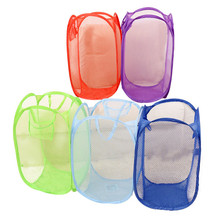 1 PCS  Mesh Foldable Pop Up Washing Dirty Clothes Laundry Basket Bag Toy Tidy Storage Color Random