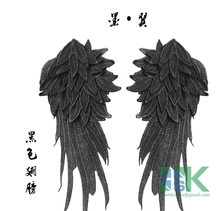 1 Pair Angel wings white black silver embroidery lace patch fashion show modeling diy clothes accessories lace fabric Cloth Patc