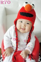Free shipping,Children's handmade Beanie caps,Red Sesame Street ELMO Beanie 100% cotton Crocheted Baby hats 5pcs/lot(China)