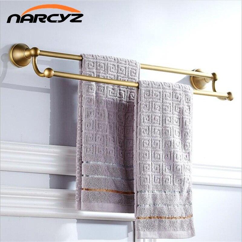 Full copper antique European and American European retro bathroom towel rack double bar bathroom 9042K<br>