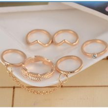 Leaf Ring - GFS-Fashion Personality SMALL V-shaped Joint Arrow 6 Pieces One Set Ring#1784462(China)