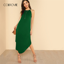 Buy COLROVIE Keyhole Back Halter Curved Hem Party Dress 2018 New Green Loose Sleeveless Summer Dress Halter Shift Long Women Dress for $11.43 in AliExpress store