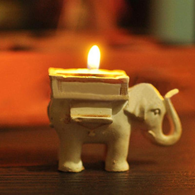 Retro Animal Elephant candlestick holder home decoration Lucky candle holders Resin Craft wedding gifts Table Decoration L45(China)
