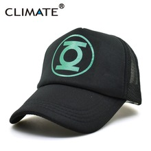 CLIMATE New DC Hero Green Lantern Cosplay Caps USA Comics Cool Black Mesh Trucker Caps Hats Adjustable Men Women summer cool