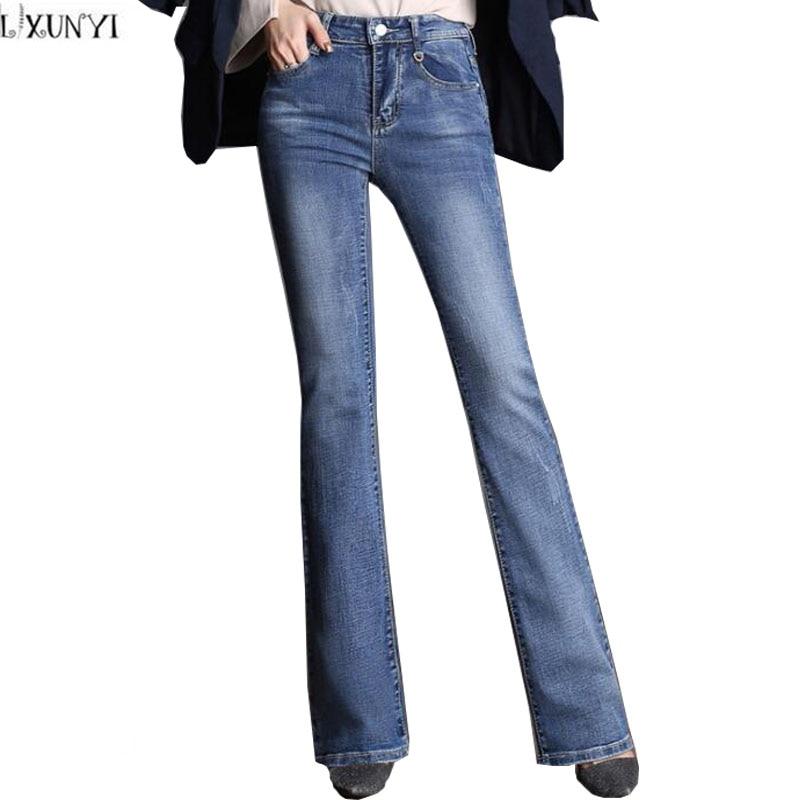 High Waist Flare Pants Women Fashion loose Casual Jeans Woman Stretch High Quality Plus Size Denim Pants Female Trousers 26-40 Îäåæäà è àêñåññóàðû<br><br>