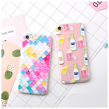 For iPhone 7 6 Cases Rainbow Lattice Lemon Juice Cup TPU Silicone Soft Matte Case Cover for 7 6s Plus Phone Funda Capa Cute(China)