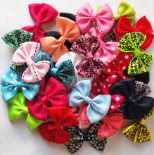 10 Pcs/lot New 2'' Candy Color Solid/ Dot/ Leopard Print Bow Hairpin Hair Clips for Girls Kids Hair Accessories